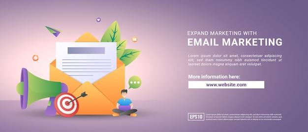Векторная иллюстрация почтового маркетинга и концепции сообщения. отправить сообщение и сообщение уведомления знак.