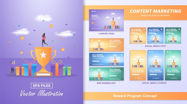 Плоская концепция проекта программы вознаграждений. люди получают призы от транзакций интернет-магазина, программ возврата денег для постоянных клиентов.