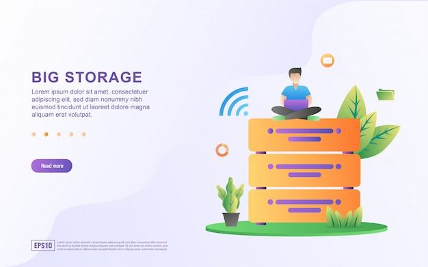 大きなデータのフラットなデザインコンセプト。ビッグデータアクセスストレージの配布情報管理。