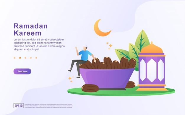 ラマダンカリームフラットデザインコンセプト。ラマダン中に人々は花火を見ます。花火でラマダンを歓迎します。ラマダンが来たら幸せになりましょう。