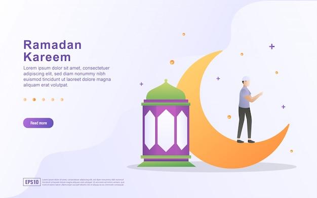Рамадан карим плоский дизайн концепции. люди радостно приветствуют рамадан. приветствуя священный месяц рамадан. мусульмане поклоняются в мечетях.