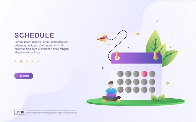 График плоский дизайн концепции, создание личного плана обучения, планирование рабочего времени и планирование.