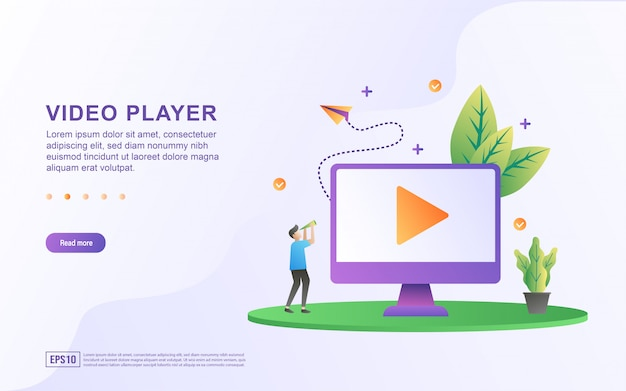 ビデオプレーヤーのフラットなデザインコンセプト。人々はビデオを再生します。ライブ放送を見る。チュートリアルビデオをご覧ください。