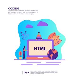 Векторная иллюстрация концепции кодирования