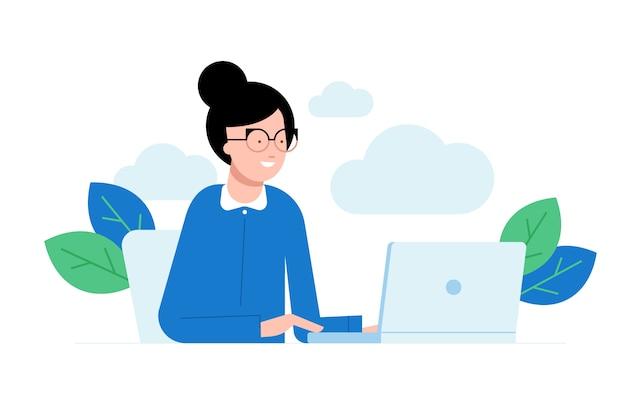 Векторная иллюстрация женщины, сидящей перед компьютером и работающей над проектом