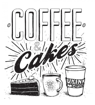 コーヒー&ケーキペン手描きのタイポグラフィレタリングやイラストセット。ケーキ、コーヒー、ホットチョコレートのイメージ