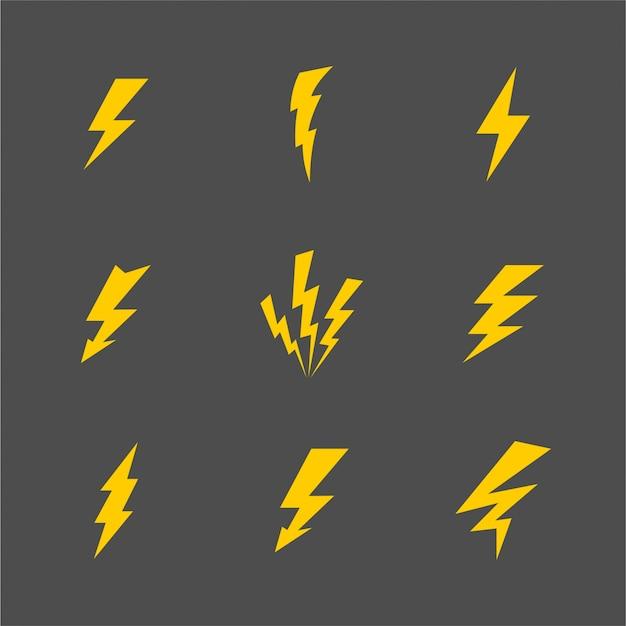 ベクトル漫画灰色電光と雷セットフラットデザイン絶縁型