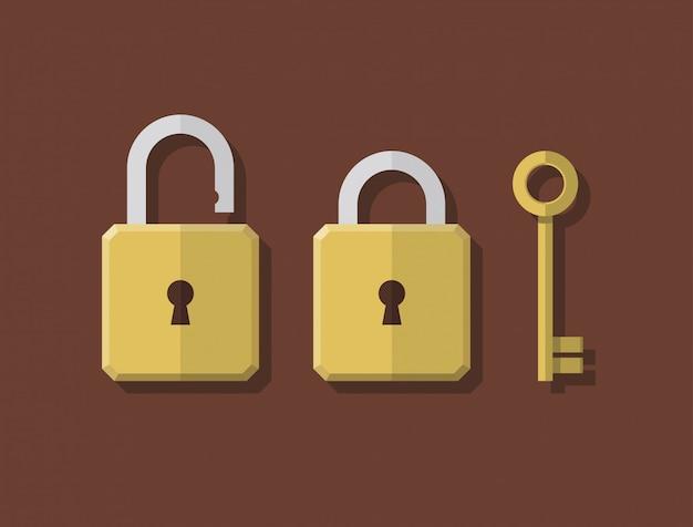 抽象的なフラットスタイルのロックとキーの
