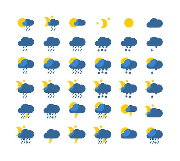 ベクトル天気アイコンセットフラットスタイル