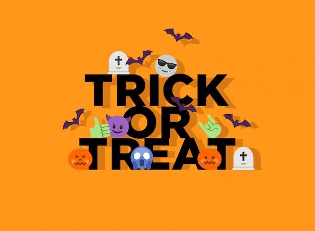 Абстрактный смешной плоский стиль хэллоуин трюк или лечения смайликов
