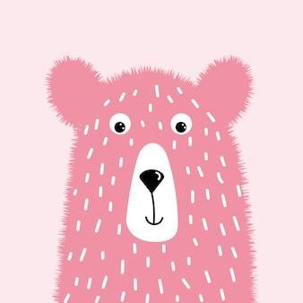 かわいいピンクのふわふわクマ