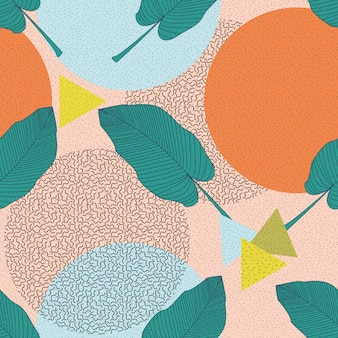 ジャングルの葉のイラスト。カラフルなトロピカルプリント。花柄ビンテージシームレスパターン