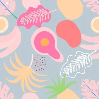 現代的なシームレス花柄をコラージュします。モダンなエキゾチックなジャングルの果実と植物。クリエイティブデザインの葉模様
