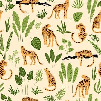 ヒョウと熱帯の葉とシームレスなパターン。