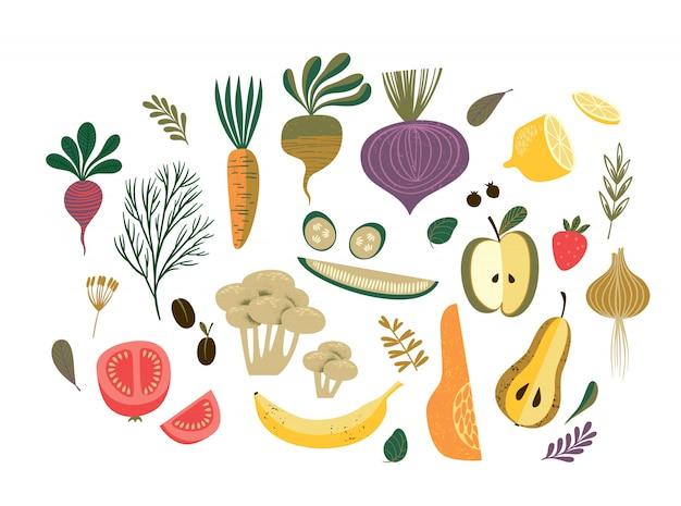 野菜や果物のベクトル図。