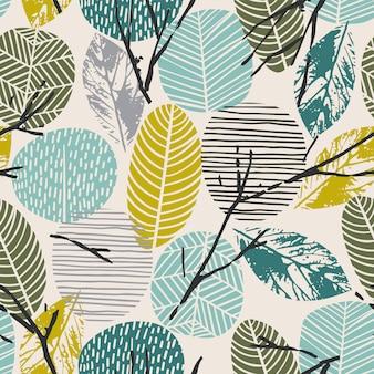 葉と抽象的な秋シームレスパターン