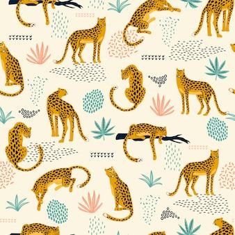Бесшовный фон с леопардами