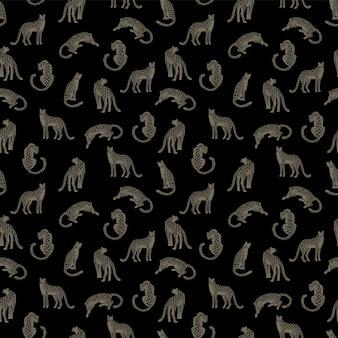 ヒョウとシームレスなパターン。