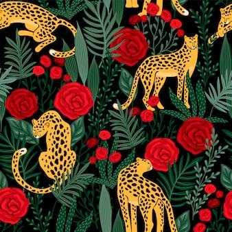 Бесшовные шаблон с леопардами и розами.