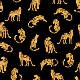 Бесшовные шаблон с леопардами.
