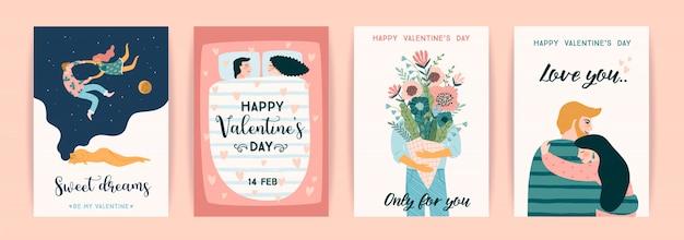 バレンタインデーや他のユーザーのためのかわいいイラストのロマンチックなセット。