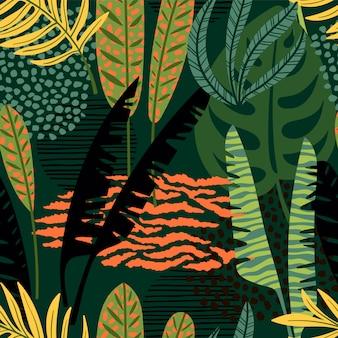 熱帯の葉と抽象的なシームレスパターン。