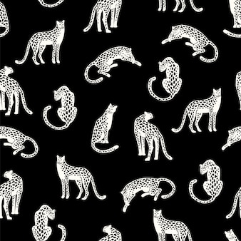 Бесшовный фон с леопардами.
