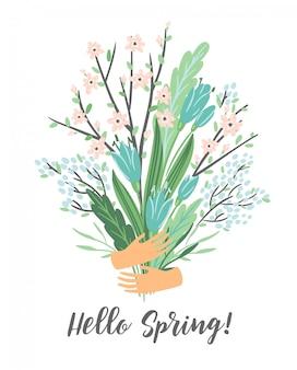春の花束を持つベクトル図。