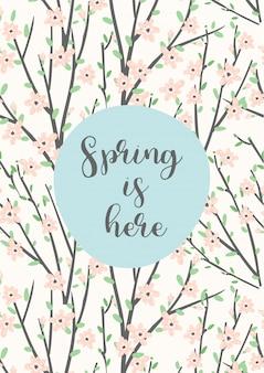 Симпатичная открытка с цветущими ветвями.