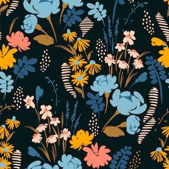 抽象的な花柄シームレスパターン。