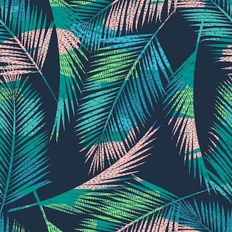 熱帯植物とのシームレスなエキゾチックなパターン。
