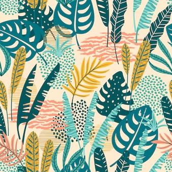 Абстрактная безшовная картина с тропическими листьями.