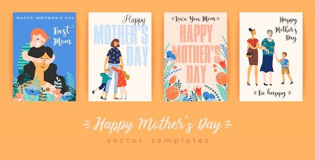 母の日おめでとう。女性と子供たちとのグリーティングカード。