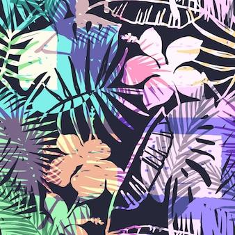 Бесшовный экзотический узор с тропическими растениями.