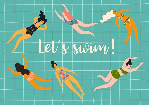 Давай поплаваем. векторная иллюстрация плавания женщин.
