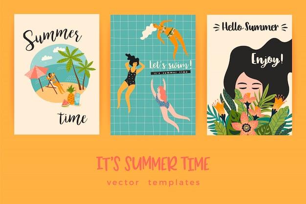 楽しい夏イラスト付きベクトルテンプレート。