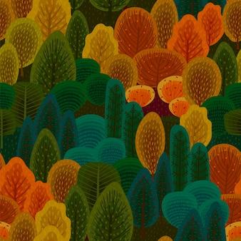 秋の森と抽象的なシームレスパターン。