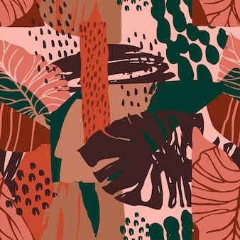 Бесшовные абстрактный узор с тропическими растениями