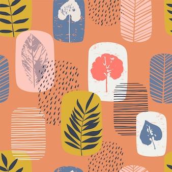葉と抽象的な秋のシームレスなパターン。