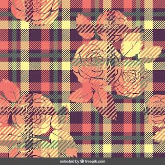 花とカラフルなギンガムパターン