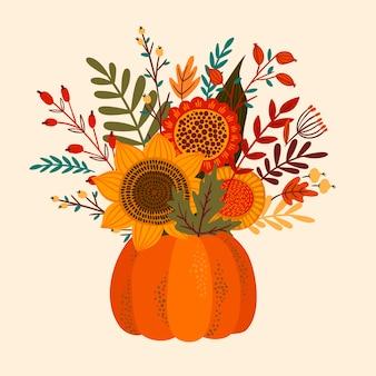 秋の花束とかわいいイラスト。