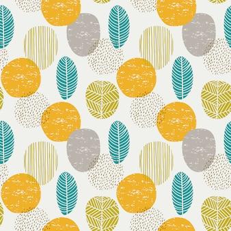 葉と抽象的な秋のシームレスパターン