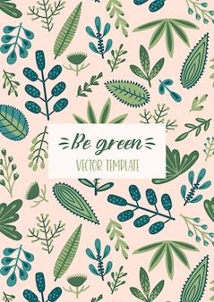 Цветочный дизайн вектор с милой травы и листьев.