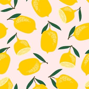 Бесшовный узор вектор с лимонами