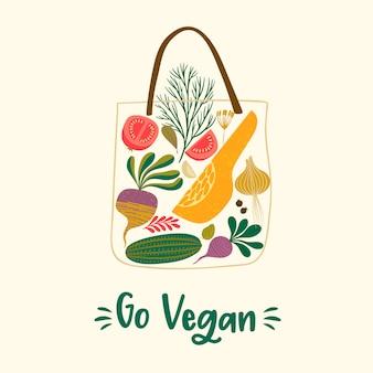 Векторная иллюстрация фруктов и овощей в сумке