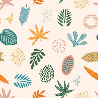 Абстрактный бесшовный фон с тропическими листьями