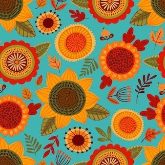 秋の花と民俗のシームレスパターン