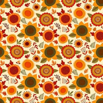 Народный бесшовный фон с осенними цветами