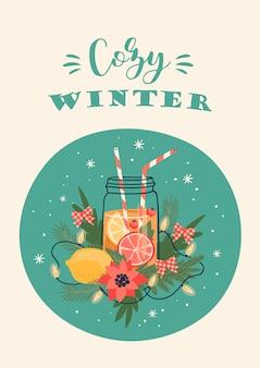 クリスマスと新年あけましておめでとうございますイラスト。トレンディなレトロなスタイル。