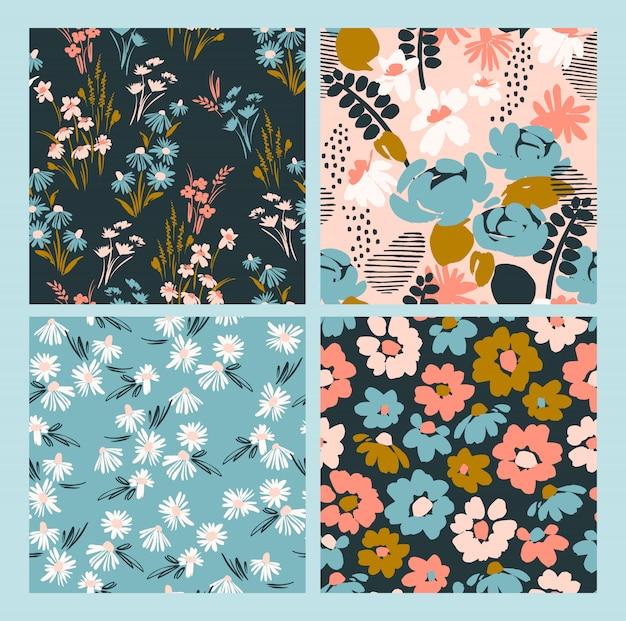 花の抽象的なシームレスパターン。